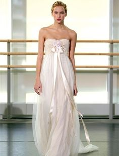 Claire Pettibone - Strapless Sheath Gown in Cotton