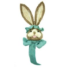 """Bunny Hat with Aqua Trim Size: 25"""" ht (tip of ears to bottom of ribbon tails)' 8"""" width (bow); 3"""" depth Whimsical sisal bunny with burlap bow trim in Aqua. Material: Sisal, burlap  Arriving"""