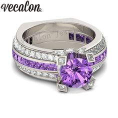 Vecalon Fashion Couple Engagement ring Purple 5A zircon Cz 925 Sterling Silver Birthstone wedding Band ring Set for women men-in Rings from Jewelry & Accessories on Aliexpress.com | Alibaba Group