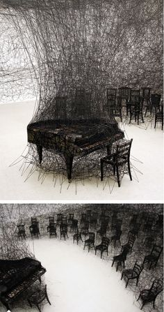 """Beautiful Installation by Chiharu Shiota -""""When I dream... I feel the dream as reality. I can't distinguish between dream and reality. When I wake up, I have the feeling I'm still dreaming."""""""