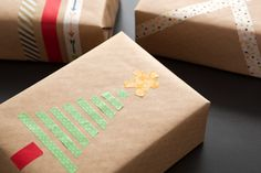Use washi tape and kraft paper for last minute gift wrapping.