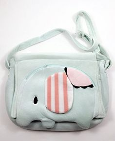 Sentimental Circus Green Elephant Mouton Cute Plush Hand Bag Messenger Backpack Sentimental Circus