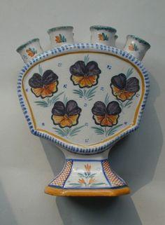 Old Quimper Pottery - Tulipier - tulip vase