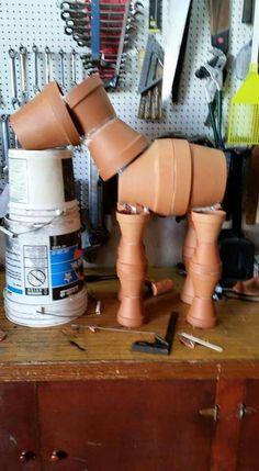 Clay pot horse sculpture