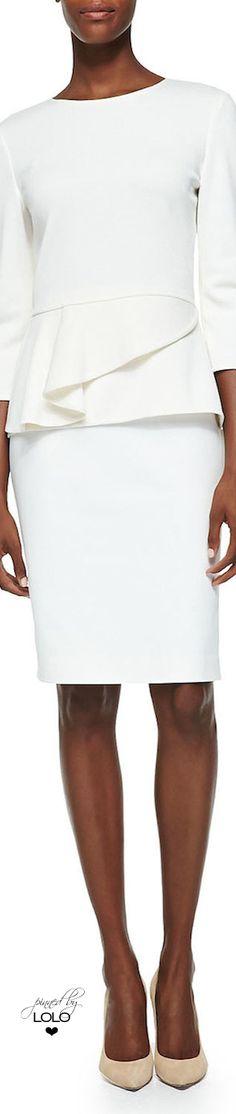 St, John ~ Milano Knit Jewel Neck Peplum Top + Stretch Micro Ottoman Skirt 2015