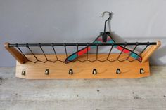 Coat rack wooden shabby wall hooks parcel shelf by wohnraumformer