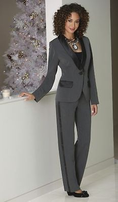 Suits and Blazers 63865: New Womens Monroe And Main Gray Satin Trim Tux Pant Suit Size 10 -> BUY IT NOW ONLY: $46.74 on eBay!