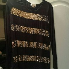 Cotton long sleeve shirt Black with gold sequence in 4 rows MICHAEL Michael Kors Tops Blouses