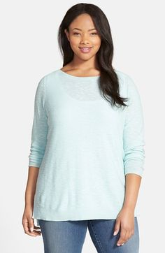 Eileen Fisher Linen & Cotton Boat Neck Top (Plus Size) | Nordstrom