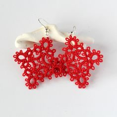 Red diamond earrings, shuttle tatted, vintage lace
