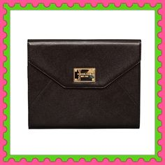 ❣Authentic Michael Kors Black Leather Clutch % AUTHENTIC ✨ This is a gorgeous black leather clutch for Apple IPad Air from Michael Kors  Interior card slots Yellow gold tone hardware  Box included  NEVER USED❣ NO TRADE  Michael Kors Bags Clutches & Wristlets