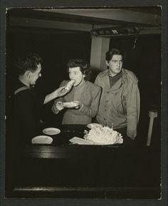 Oddly suggestive photo of Jane Wyatt eating cake.