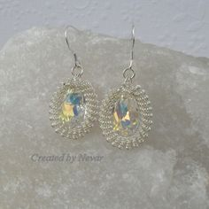 Clear Swarovski Crystal Earrings, Silver Spiral Wirework, Mother's Day Gift