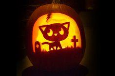 Pumpkin carving is an art. On Halloween some cat lovers take that art to the next level. Pumpkin carving is an art. On Halloween some cat lovers take that art to the next level. Cat Pumpkin Stencil, Cat Pumpkin Design, Cat Pumpkin Carving, Halloween Pumpkin Stencils, Scary Halloween Pumpkins, Pumpkin Drawing, Pumpkin Carving Patterns, Halloween Cat, Pumpkin Designs