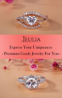 Express your uniqueness. Premium Grade Jewelry For You.  The 2 carats cushion cut center stone is encircled by a flower shaped halo. The hollow shank is decorated with milgrain and round stones. It will be an eye-catcher everywhere. Never miss it. #JeuliaJewelry