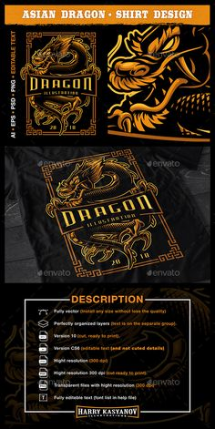 [ Vector Illustration Of Asian Dragon. This Illustration Perfect For T-Shirt Prints, Clothes, Posters, Interiors And Many Other. Advantages: Fully Vector (Install Any Size Without Lose The Quality) Shirt Print Design, Tee Design, Shirt Designs, Graphic Design, Brand Stickers, Distressed Texture, Dragon Design, Information Graphics, Asian