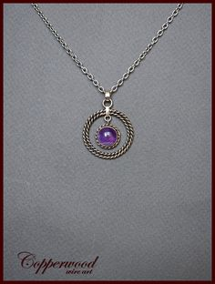 Wire wrapped pendant / Wire wrapped amethyst necklace /