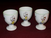 Popeye & Olive Oyl Dancing , Porcelain Hand Painted Egg Cups ca. 1930's