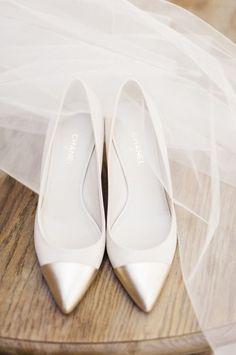 Chanel gold pointed ballet flats wedding bridal shoes