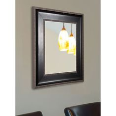 American Made Rayne Black With Silver Caged Trim Wall Mirror (26.75 x 38.75)