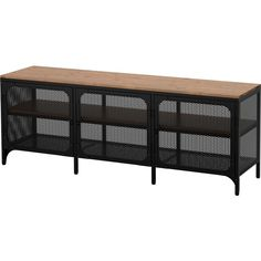 IKEA - FJÄLLBO, TV unit, , This rustic metal and solid wood TV bench has an open back, so it's easy to arrange cords and cables.You can place electronic equipment Solid Wood Shelves, Rustic Shelves, Ikea Shelves, Design Industrial, Industrial Style, Media Furniture, Wood Furniture, Living Furniture, Fjällbo Ikea