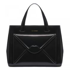 b0d50f702f Black Polished Leather Envelope Medium Louise | Handheld Bags | Handbags | Lulu  Guinness Black Polish