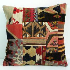 Turkish Antique Patchwork Kilim Pillow Cover