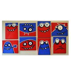 Feos de rojos y azules - set de 8 pinturas originales 8 x 10 en varios lienzos de pinturas de niños habitación o vivero, arte de monster, monster