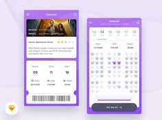 Cinema App Freebie designed by Kamil Bachanek for Connect with them on Dribbble; Flat Web Design, Mobile Ui Design, Web Ui Design, Design Design, Cinema App, Design Thinking, Motion Design, Ui Portfolio, Ticket Design