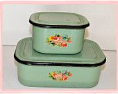 Pair of Vintage 30s Green Enamel Ware Covered Fridge Dishes with Sweet Old Rose Decals