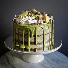 Pandan sponge cake, black sesame buttercream, and matcha drip  #bakeyousmile