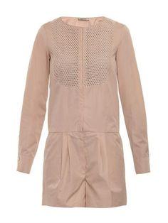 Contrast-bib cotton-poplin playsuit   Nina Ricci   MATCHESFASH...