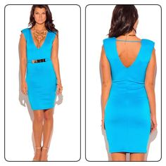 Turquoise blue deep v neck pencil dress This Modern And Trendy Pencil Party Dress Is Way Too Cute For Anyone To Not Have One! We've Put Everything We Love Onto This Dress: Medium Weight Fabric For The Structure, Bodycon Fitted Cut, Sexy Low V Neck, Padded Power Shoulders, And Bejeweled With Gold Belt. You Will Feel Not Only Sexy, But Also Powerful In This Pretty Cocktail Dress, Above The Knee Length Polyester/Spandex. Dresses Midi