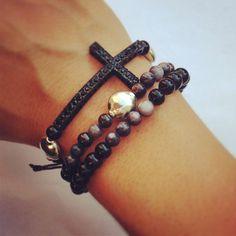 Black cross macramé bracelet set of three by AroundMyWrist on Etsy Jewelry Crafts, Jewelry Box, Jewelry Accessories, Fashion Accessories, Fashion Jewelry, Cross Bracelets, Bracelet Set, Girly Things, Jewerly