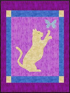 Cat And Butterfly Quilt Blanket Dog Quilts, Animal Quilts, Mini Quilts, Cat Quilt Patterns, Applique Patterns, Applique Quilts, Quilt Baby, Quilting Projects, Quilting Designs