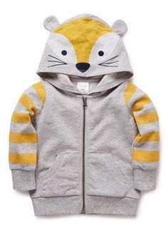 100% cotton french terry zip up hooded sweat with front pouch pocket and striped sleeves. Features novelty fox printed hoodie