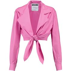 Moschino Tie-front cotton-poplin top (€150) ❤ liked on Polyvore featuring tops, blouses, pink, pink wrap top, wrap around blouse, wrap tops, loose fitting blouses and pink tops