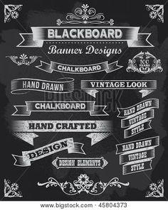 vintage inspired chalkboard art | Chalkboard calligraphy banners. Vintage style blackboard design