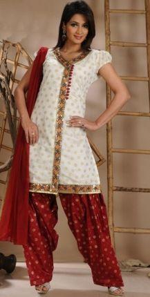 Appealing Off-White Churidar Kameez