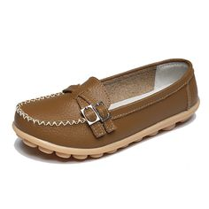 Sale 27% (18.64$) - New Women Flat Loafers Casual Comfortable Soft Slip-On Leather Flats Shoes