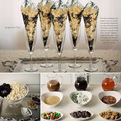 Popcorn bar... Make your own concoction .... And an elegant movie star theme...