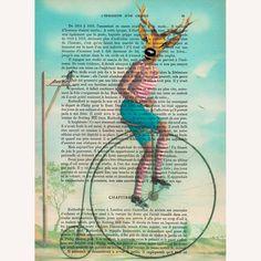 Vintage deer - ORIGINAL ARTWORK Hand Painted Mixed Media on 1920 famous Parisien Magazine 'La Petit Illustration' by Coco De Paris. $12.00, via Etsy.