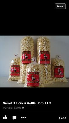 Custom printed Kettle Corn bags are a great way to grow your business! Custom Printed Boxes, Printed Bags, Popcorn Shop, Corn Bags, Kettle Corn, Shipping Supplies, Print Packaging, Fresh Start, Shop Ideas