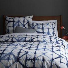 Bedding - Shibori Duvet Cover + Shams   west elm - blue and white tie-dye bedding, tie-dye bedding, Japanese tie-dye bedding,