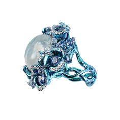 Blue Moonstone Ring.....Diamonds, Sapphires, and one Giant Moonstone, Oh My Stars!!!!