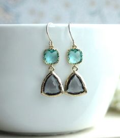 Grey Black Diamond with Zircon Aqua Blue Glass Drop Earrings. Blue and Grey Wedding | By Marolsha