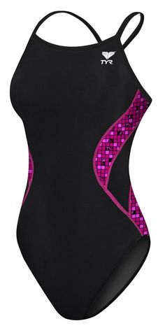 TYR Pink Women's TYR Check Splice Diamondfit Swimsuit - Swimwear - Womens