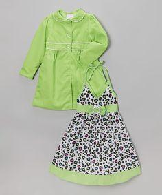 Another great find on #zulily! Green Leopard Halter Dress & Jacket - Infant, Toddler & Girls by Sugah & Honey #zulilyfinds