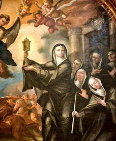 Saint Clare saving all with             +Holy Eucharist