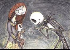 Jack and Sally fan art. Nightmare Before Christmas babies.